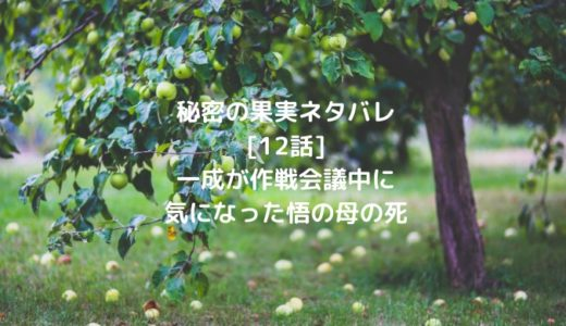 秘密の果実ネタバレ[12話]一成が作戦会議中に気になった悟の母の死